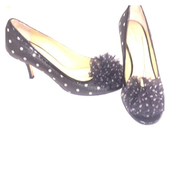 """86990eed144 kate spade Shoes - Kate Spade """"Molly"""" black + white peep toe heels"""